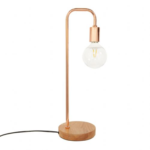 Rose Gold Desk Lamp With Wood Base